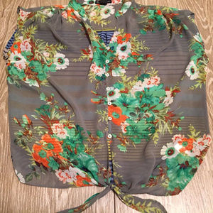 Tops - Csss sheer cap sleeve button down floral top